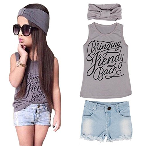 Toddler Kid Fashion Clothing Set GoodLock Baby Girls Vest Top Clothes + Jeans Pants Shorts+Scarf Suit Outfit 3Pcs (Gray, Age:5-6Y)