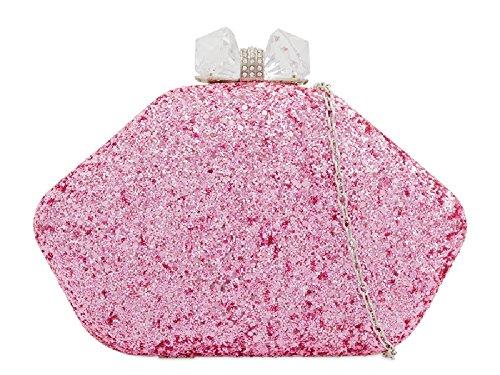 Glitter Box Clutch Handbag Party Women's Bag Ladies KZ2270 Cocktail Clasp Pink Gem FpqBapA