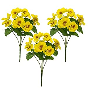MARJON FlowersSet of 3 Artificial Silk Pansy Bushes - Yellow 19