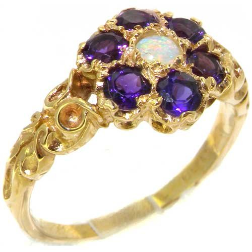 14k Yellow Gold Natural Opal and Amethyst Womens Cluster Ring - Sizes 4 to 12 Available (14k Ring Cluster)