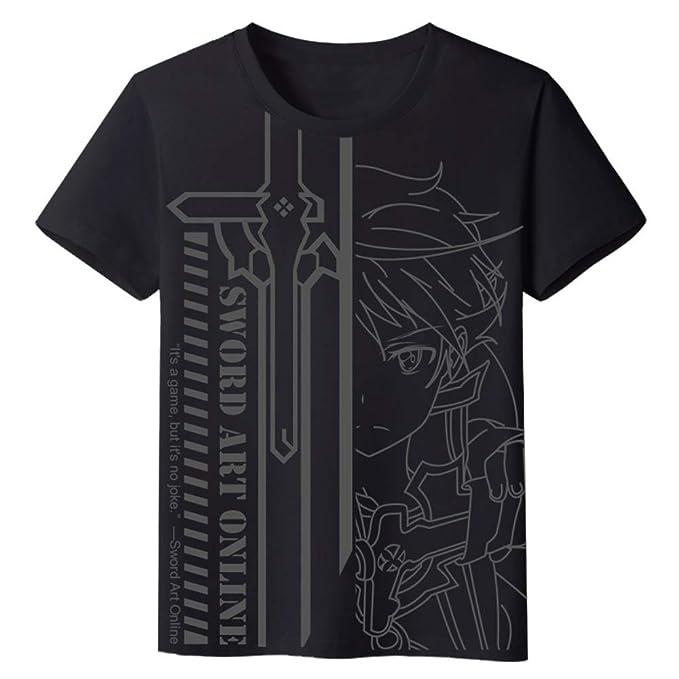 MOE Sword Art Online T-Shirt Hot Anime Tee Original Tops (Unisex, Black,  Milk Silk, Kirito)