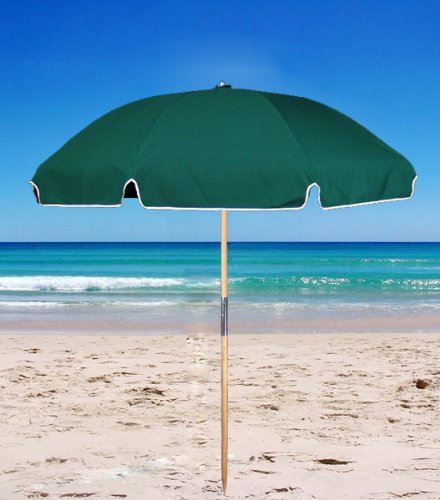 6.5 ft. Acrylic Fiberglass Beach Umbrella – Wood Pole Forest