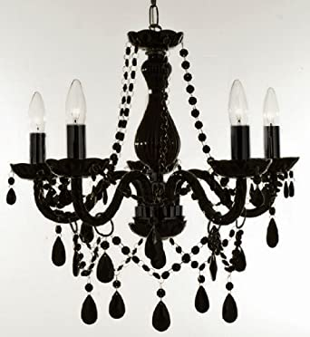 Jet black crystal chandelier h4826cm w4953cm amazon lighting jet black crystal chandelier h4826cm w4953cm mozeypictures Image collections