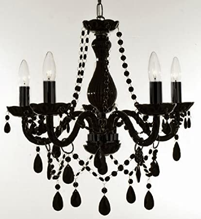 New authentic all black crystal chandelier lighting 5 lights h19 new authentic all black crystal chandelier lighting 5 lights h19quot x wd aloadofball Images