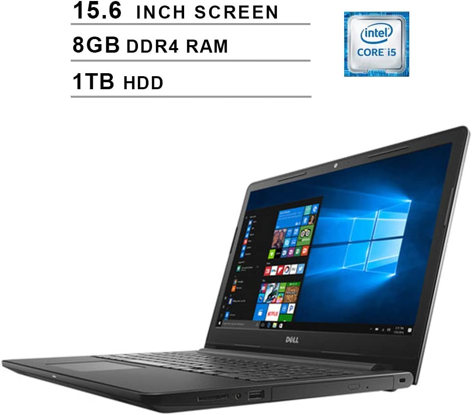 Dell 2020 Newest Inspiron 15 3000 15.6 Inch FHD 1080P Laptop, Intel Core i5-7200U up to 3.10 GHz, Intel HD 620, 8GB RAM, 1TB HDD, WiFi, Bluetooth, HDMI, DVD, Windows 10, Black