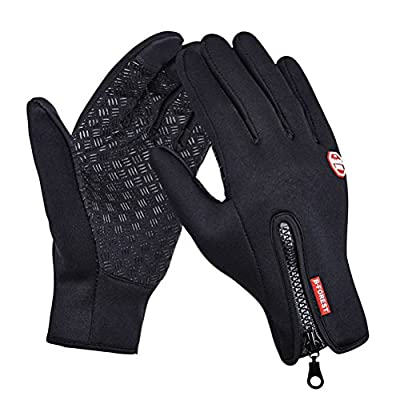 Cycling Gloves,Zeavola Winter Outdoor Cycling Waterproof Biking Gloves with Zip Adjustable Size Touchscreen Gloves for Phone