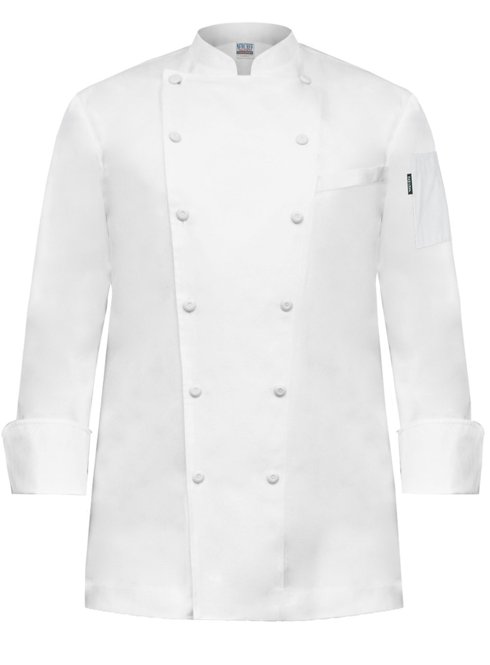 Newchef Fashion Prince White Egyptian Cotton Men Chef Coat Breast Pocket 2XL White by Newchef Fashion