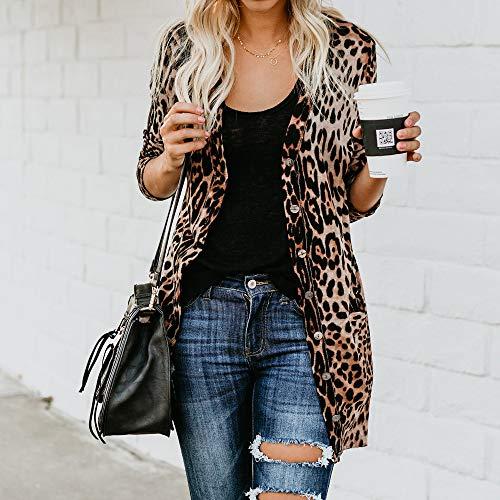 Surdosage Longues Casual Manteau shirt Sans Imprimé Manches Léopard Womens À T Blouse Coton Mode Zqw4r7IZ