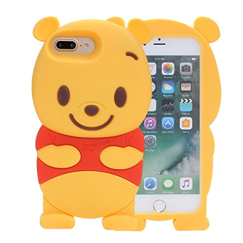 Samsung Galaxy S6 Silicone Case,Emily Fashion Super Cute 3D Cartoon Character Yellow Bear Protective Silicone Back Case Cover for Samsung Galaxy S6
