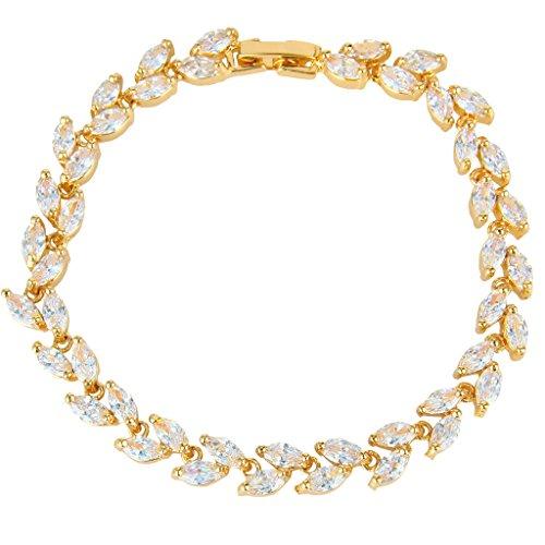 EVER FAITH Bridal Gold-Tone Clear Zircon Leaf Tennis Bracelet