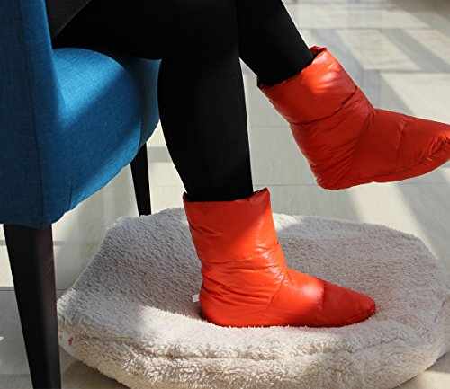 Slippers Warm Down Bed Avanigo Camp Socks Booties Cozy Orange v5qxn7pw