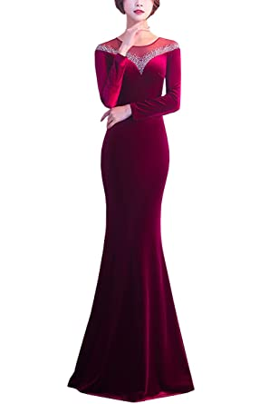 KAXIDY Womens Dresses Long Casual Long Prom Gowns Velvet Long Evening Dress Maxi Dresses Party Cocktail
