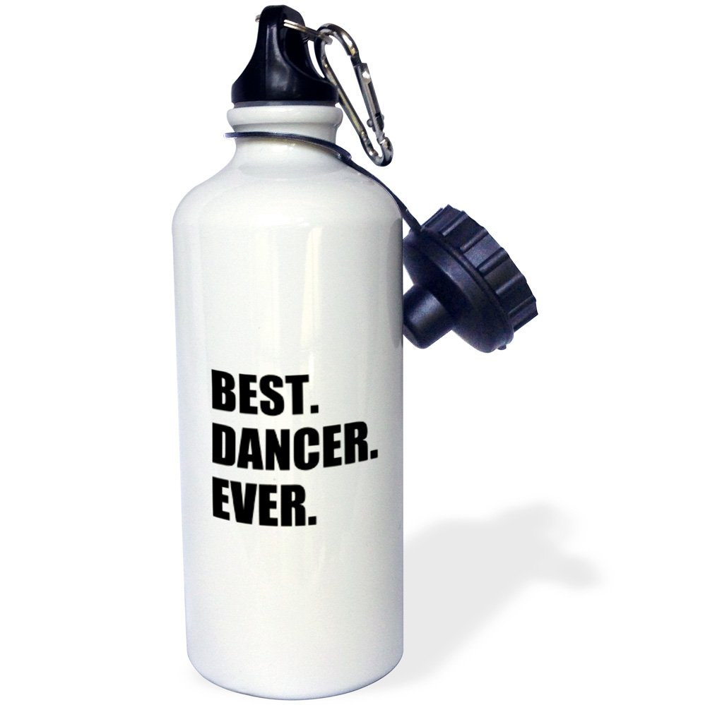 3dRose wb_179772_1 Best Dancer Ever - Fun Text Gifts For Fans Of Dance - Dancing Teachers Sports Water Bottle, Multicolor, 21 oz