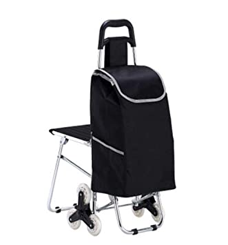 WYFC Carro de Compras Plegable con Taburete Silla aleación de Aluminio del Coche de la Barra de Empuje con Silla de Escalada Carrito de Compras,Black