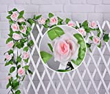 Colorfulife® 6pcs Artificial Lifelike Silk 2.5M Rose Vine Ivy Hang Flower Vine Rattan Fake Leaf Pipeline Cane Garland Wall Hanging Plant Decorative Wedding Party Home Garden Pipe Room Fence Door Balcony Decoration (Light Pink)