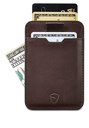 Chelsea Slim Card Sleeve Wallet with RFID Protection by Vaultskin – Top Quality Italian Leather - Ultra Thin Card Holder Design For Up To 10 Cards (Brown)