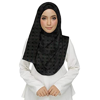 d730dc1f16 Mean Zoom Cotton Women s Box Checkered Puff Hijab (Size -70 180 CM) Black   Amazon.in  Clothing   Accessories