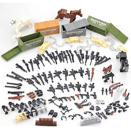 Custom Military Minifigures Army Modern Weapons Pack Accessories Set / Military Building Blocks Toy for Kids Boys Compatible Major Brands