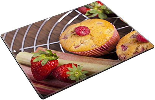 Raspberry Muffins - MSD Place Mat Non-Slip Natural Rubber Desk Pads design 19569078 Some Strawberry Rhubarb and raspberry muffins and fresh fruit on cake wire rack