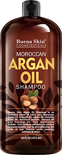Premium Argan Oil Shampoo with Keratin, Jojoba, Avocado, Almond, Camellia Seed, and Coconut - Sulfate Free - All Natural Shampoo Safe For All Hair Types Including Color Treated Hair - 16 oz.
