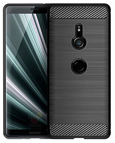 Sony Xperia XZ3 Case, UCC Frosted Shield Luxury Slim TPU Bumper Cover Carbon Fiber Design and Anti-Scratch and Non-Slip Case Cover for Sony Xperia XZ3 (Black)