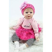Npkdoll Reborn Baby Doll Soft Silicone 22inch 55cm Magnetic Mouth Lovely Lifelike Cute Boy Girl Toy Pink Flower Headdress