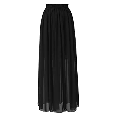 Topdress Women's Floor Length Beach Skirt Floral Print Chiffon Maxi Skirts at Women's Clothing store