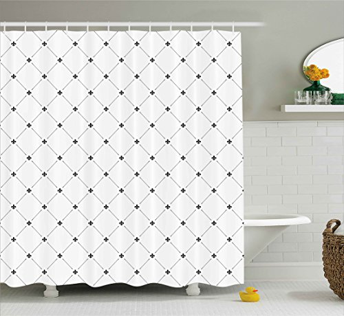 Fleur De Lis Decor Shower Curtain by Ambesonne, Shabby Chic Damask Pattern with Vintage Kitsch Geometric Diamond Lines, Fabric Bathroom Decor Set with Hooks, 70 Inches, Black White (De Curtains Shower Fleur Lis)