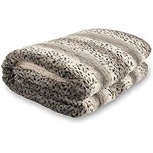 Bella Safari Faux Fur Plush Throw Blanket Comforter AQ607, Queen, Snow Leopard