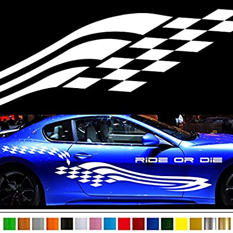 Amazoncom Checkered Flag Car Sticker Car Vinyl Side Graphics - Car side decals designpopular sport car graphicsbuy cheap sport car graphics lots from