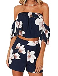 NANYUAYAKY Women Off Shoulder Floral Print Crop Top and Shorts 2 Pieces Set Outfits
