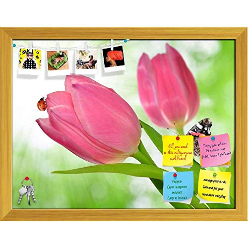 Artzfolio Tulip with Butterfly & Ladybug Printed Bulletin Board Notice Pin Board | Golden Frame 15.5 X 12Inch -
