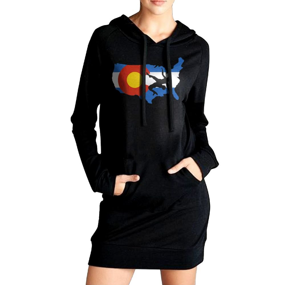 Women Colorado USA Wrestling Casual Sweatshirt Tunic Slim Fit Hoodie Pockets Dress by Toyoucy-4