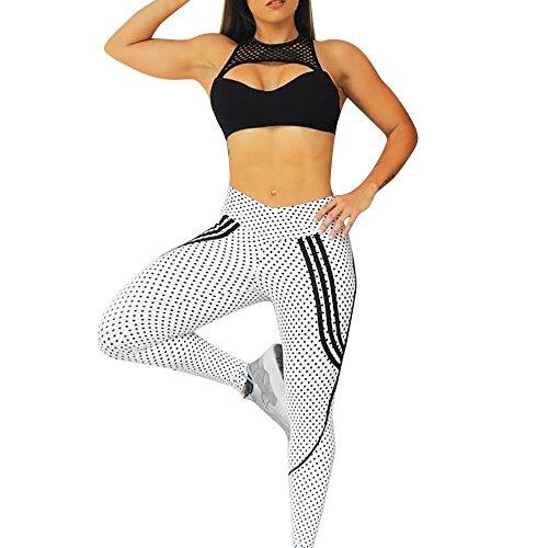 (URIBAKE  Women's Workout Leggings Mid Waist Print Dots Fitness Sports Gym Running Yoga Athletic Pants)