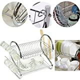 suyi 2 Tier Chromed Dish Drainer Kitchen Storage Drying Rack Organizer with Drip Tray,Mug Holder and Cutlery Drainer