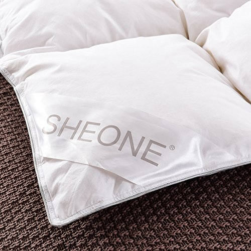 SHEONE All Seasons Lightweight White Goose Down Comforter-650 Fill Power-100% Cotton Shell Down Proof-Solid White Hypo-allergenic Duvet Insert With Tabs (King) by SHEONE (Image #6)