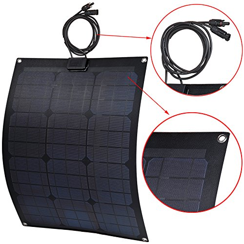 Lensun-30W-12V-Black-Fiberglass-Semi-Flexible-Monocrystalline-Solar-Panel-Kit-with-10A-PWM-Solar-Charge-Controller-and-Two-5m-Cables-with-MC4-Connetors-for-12V-Charge-Battery