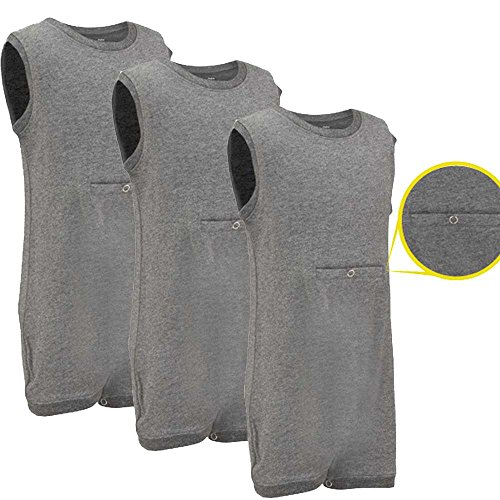 Special Needs Clothing w/Tube Access for Older Children (2-16 Yrs Old) - Sleeveless Bodysuit for Boys & Girls by KayCey - Grey (Pack of 3) (15-16 Years Old)