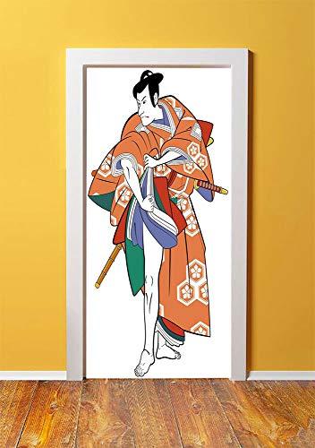 Kabuki Mask Decoration 3D Door Sticker Wall Decals Mural Wallpaper,Kabuki Actor with Traditional Costume Historic Edo Era Drama Culture Decorative,DIY Art Home Decor Poster Decoration 30.3x78.7771,Mul -