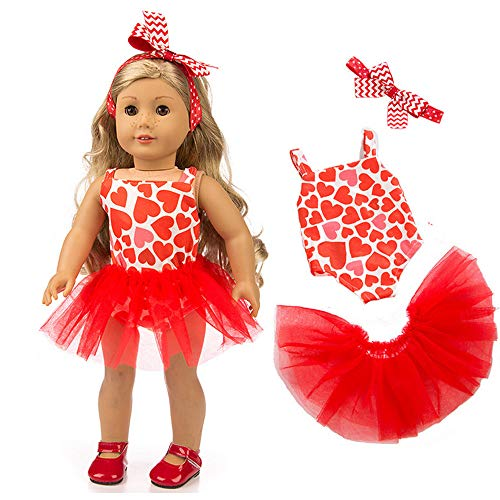 Livoty Doll Clothes Outfits Set Beautiful Yarn Dancing Dress for 18 Inch American Toy Girl Doll Accessory Girls Toy (Red)