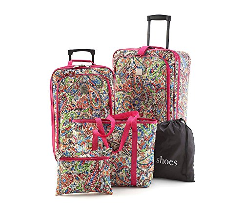 TravelQuarters Pink Paisley 5-pc. Luggage (5 Piece Expandable Luggage Set)