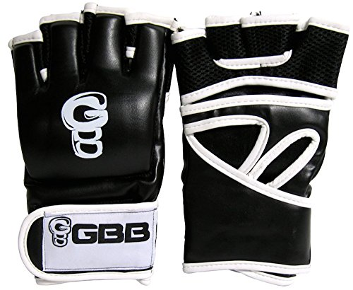 GBB 4OZ PROFESSIONAL MMA GLOVES IN JAPANESE LEATHER (BLACK, SMALL)