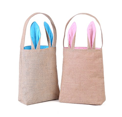 Easter Bunny Gift (E-FirstFeeling Easter Bags Easter Bunny Basket Easter Party Gifts/Eggs Bag (2 mixed-Lightblue/Pink))