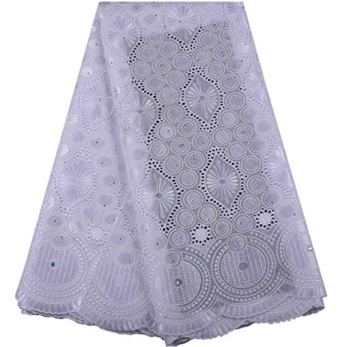 Zhangooqi Delivery to USA Within 5 Days African Lace Fabric Swiss Voile Cotton Lace with Stones Swiss Voile Lace in Switzerland (Color : White, Size : 5YARDS) (High Quality Swiss Voile Lace From Switzerland)
