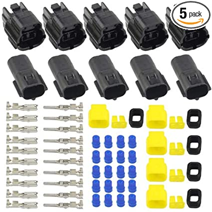 Wmycongcong 5 Kits 2 Pin Way Waterproof Electrical Connector Plug For Car Automotive 2 Pin