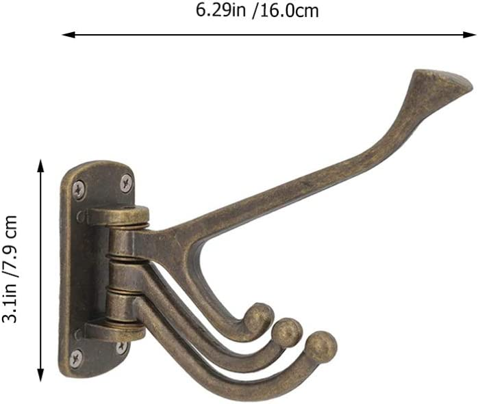 Bronce Wakauto Ganchos de Pared de Hierro Fundido Vintage Ganchos de Abrigo Giratorios R/ústicos Decorativos Perchas para Perchas con 3 Brazos Oscilantes para Bata de Toalla