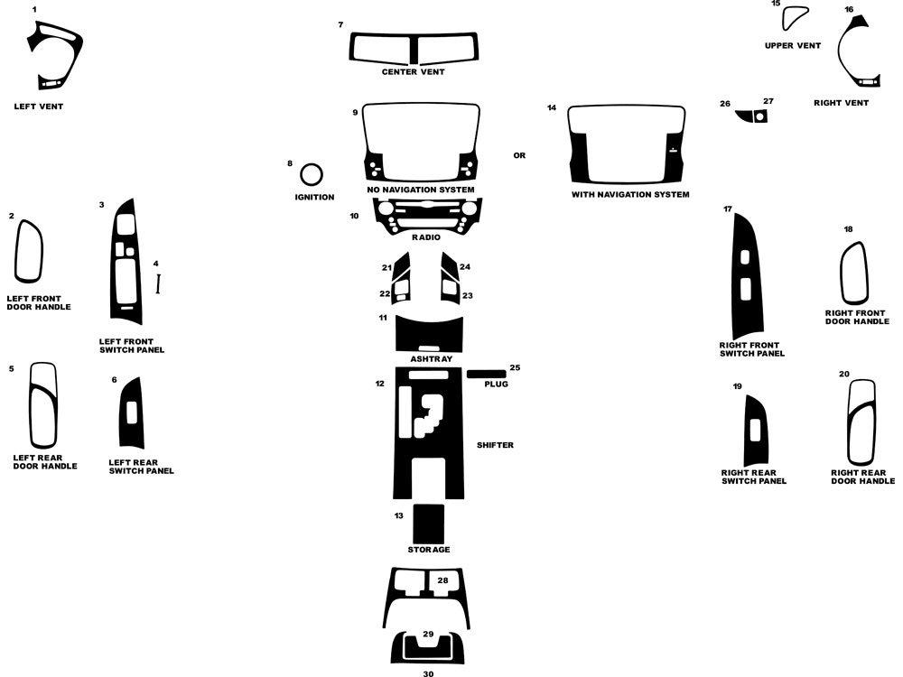 Rdash Dash Kit Decal Trim for Lexus IS 2006-2008 - Carbon Fiber 3D (Black) Rvinyl