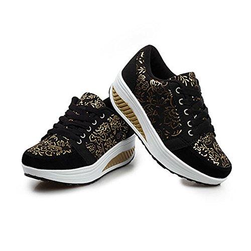 Sneaker Platform WYSBAOSHU Women's Walking black Breathable Shoes Casual 1 rYq1w5qgW