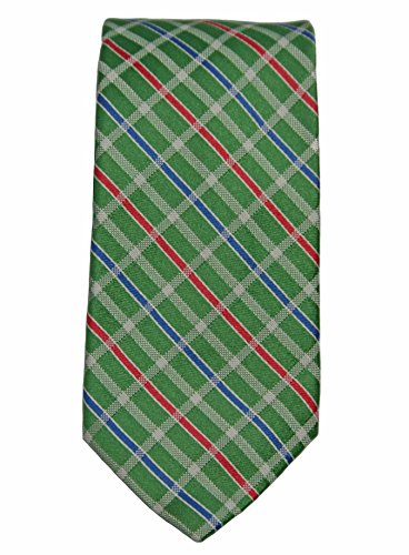 Faconnable Candy Check Christmas 100% Silk Tie, Green/Red/Blue/White