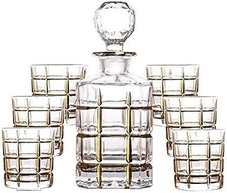 Juego de Jarras y Vasos de Whisky Juego de 7 Piezas Decantador de Whisky Gafas de Cristal sin Plomo Botella de Vino Tinto Dibujo de Oro Línea de Oro Jarra de Vino Regalo de la casa